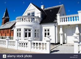 nordic building style single family house northern jutland stock