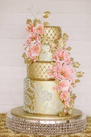 gold and pink lace wedding cake deer pearl flowers