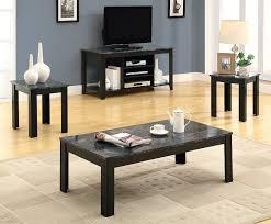 3 piece black coffee table sets amazon com monarch specialties marble look top 3 piece table set