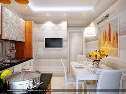 awesome kitchen wall design with white colour and dining table set
