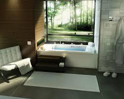 bathroom white drop in bathtub stainless faucet white chair dark