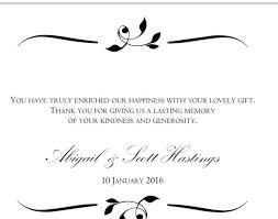 sles of thank you notes wedding thank you note wording for gift card wedding ideas 2018