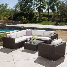 Patio Furniture With Sunbrella Cushions Santa Rosa Outdoor 7 Wicker Seating Sectional Set With