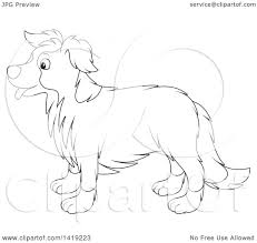 clipart of a black and white lineart border collie dog in profile