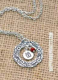 Hand Stamped Necklace Hand Stamped Jewelry Design Stamps Wreath Necklace Happy Hour