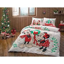 disney discovery mickey and minnie holiday queen sized bedding
