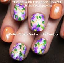 peach with lavander flower nail art tutorial for short nails