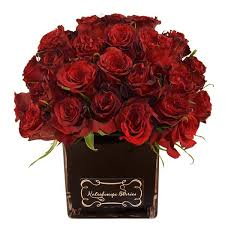 Vases Of Roses Black Square Vase Arrangement With Deep Red Roses U2013 Kaleidoscope