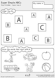 super simple abc u0027s upper case letters kindergarten worksheet