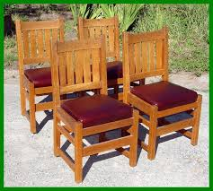 Mission Oak Dining Chairs Voorhees Craftsman Mission Oak Furniture Set Of Four Original L