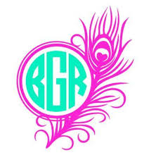 monogram decals yeti tumbler decal peacock feather with circle monogram decal cup