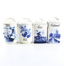 blue and white delft style ceramic kitchen canisters ebth