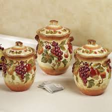 Decorative Canisters Kitchen by Handpainted Grapes Kitchen Canister Set Kitchen Canister Sets