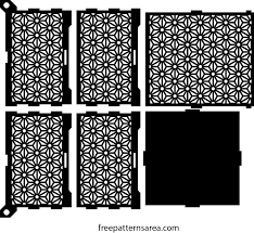 wooden laser cut box design with geometric flower ornament
