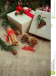 christmas gift boxes and decorations rustic style stock image