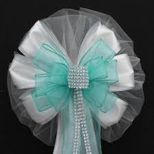 wedding bows aqua bling glitter and white wire edge sparkle wedding pew bows