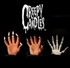 this creepy hand shaped candle is the perfect halloween decoration