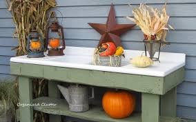 Outdoor Potting Bench With Sink Organized Clutter Changes To My Fall Potting Bench