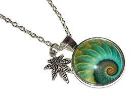 fractal necklace design with pot leaf stylized charm trendy