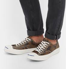 converse jack purcell signature camouflage print sneakers in brown