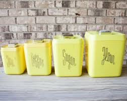 yellow canister sets kitchen sale mid century 1950s yellow plastic bakelite typographic