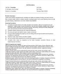 Sample Resume For Custodian by Sample Custodian Job Description 8 Examples In Pdf Word