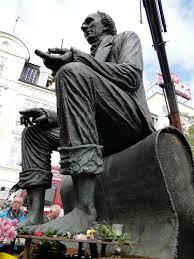 file sculpture hans christian andersen in odense harbor 3 jpg