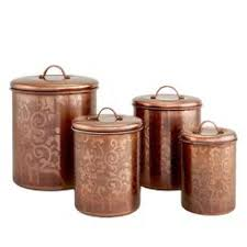 copper canisters kitchen antiqued copper kitchen canisters set of