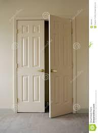 Closet Door Opening Minimalist Bedroom With Opening Closet Doors Stock