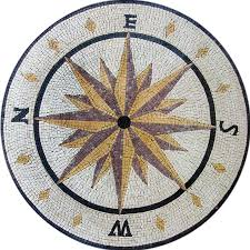 Round Nautical Rugs Compassrose Mosaics Your Way