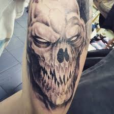demon monster tattoo as part of tattoo sleeve by inkcaptain on