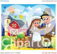 royalty free thanksgiving images cartoon of a thanksgiving pilgrim couple on a farm royalty free