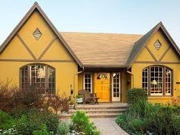 adorable design of the yellow exterior house paint colors ideas with brown wooden windows and yellow