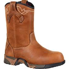 womens boots work rocky s aztec brown pull on composite toe waterproof work