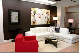 modern living room design with dark brown wall