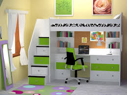 white full size loft bed with desk underneath great full size
