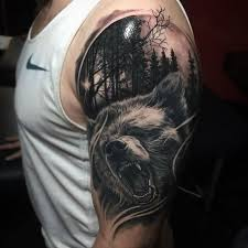 left half sleeve wolf and forest tree golfian com