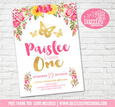 printable watercolor floral and gold butterfly birthday invitation