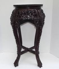 vintage antique heavily hand carved rosewood chinese plant stand w