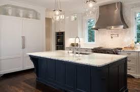 Dark Blue Kitchen White Kitchen With Dark Blue Island Transitional Kitchen