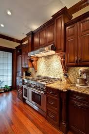 Cherry Kitchen Cabinets Granite Countertops Kitchen With Cherry Cabinets Lighting Flooring