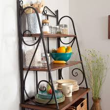 Corner Bakers Rack With Storage Durable Metal And Wood Bakers Rack With Classic Wicker Basket