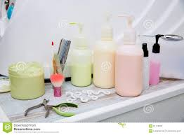 pedicure treatment products in nails salon stock photo image