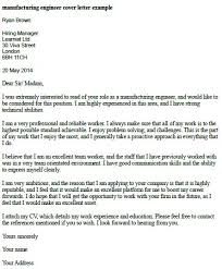 manufacturing engineer cover letter example cover letter