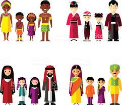 vector illustration of asian arab indian family stock
