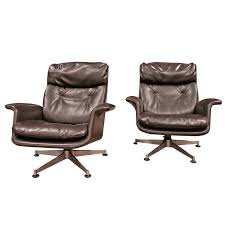 Leather Swivel Armchairs Italian 1970 Swivel Armchairs By Anonima Castelli For Sale At 1stdibs