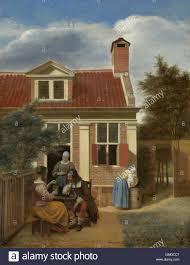 figures in a courtyard behind a house by pieter de hooch 1663 65
