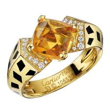 citrine engagement rings cartier citrine diamond panthère ring for sale at 1stdibs