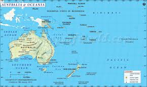 map of australia and oceania countries and capitals map