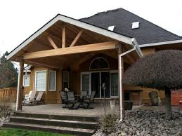 exterior appealing covered patio design ideas with gable roof and